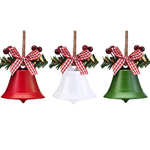 3PCS Christmas Jingle Bells Ornaments in Red White Green,Christmas Tree Bells Pendant with Holly Berry,Christmas Holiday Party Supplies for Christmas Tree Decor,Wreath,Window