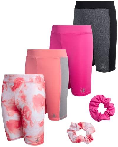 Body Glove Girls' Active Bike Shorts - 4 Pack Performance Bike Shorts , Size 10, Tie Dye/Coral/Pink/Grey