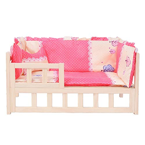 JLXJ Raised Wood Dogs Beds with Guardrail, for Large Medium Small Pets, Pink Orthopedic Pets Cot, Washable Mattress (Size : 96×56×39cm)