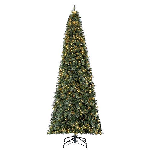 Home Heritage 12 Foot Cascade PVC Quick Set Christmas Tree with Changing White and Colorful LED Lights