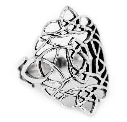 WINDALF Keltischer Ring RISE h: 2.4 cm Keltische Knoten 925 Sterlingsilber (Silber, 60 (19.1))