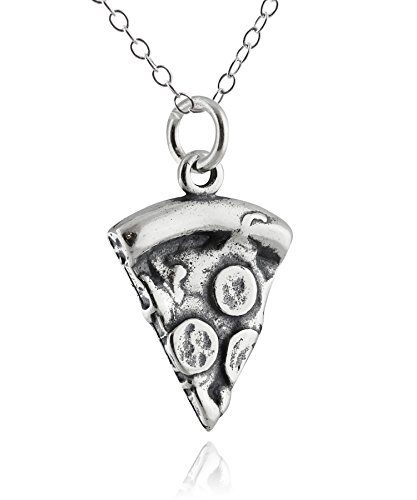 FashionJunkie4Life Sterling Silver 3D Slice of Pizza Charm Necklace, 18' Chain