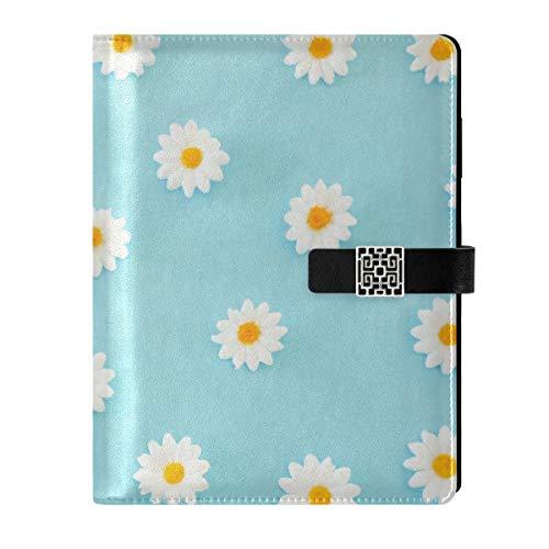 Leder-Notizbuch Tagebuch Notizblock Reise Gänseblümchen blau nachfüllbar A5 Innenfüllpapier Ringbuch – Hardcover Notizbuch Damen Herren Geschenk