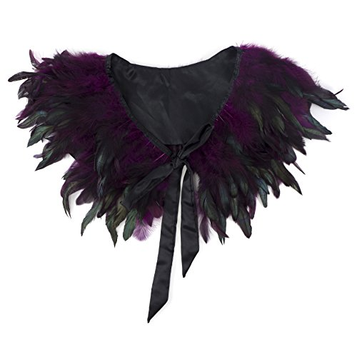 ZUCKER Rooster Coque Natural Feather Cape with Satin Trim - Shoulder Collar Wrap Halloween Costumes Accessories - Purple