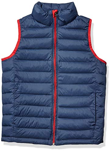 Amazon Essentials Jungen Boys' Lightweight Water-Resistant Packable Puffer Vest, Marineblau With Rot, M (Herstellergröße: 8)