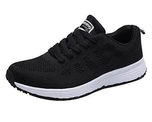 Decai Mujeres Zapatillas de Deportivos de Running para Mujer Gimnasia Ligero Sneakers Malla Transpirable con Cordones Zapatillas Deportivas para Correr Fitness Atlético Caminar Zapatos Negro 36 EU