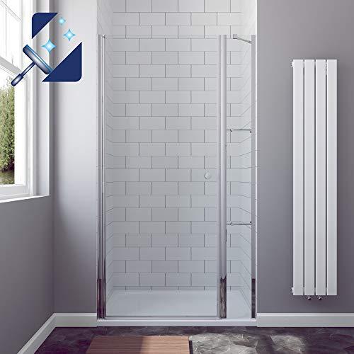 AQUABATOS® Duschtür Nische 95 x 195 cm aus Sicherheitsglas 6mm Echtglas Nanobeschichtung, Nischentür Dusche mit Festteil und Eckregalen Duschablage, Duschkabine Duschtrenwand Duschwand Duschnischentür