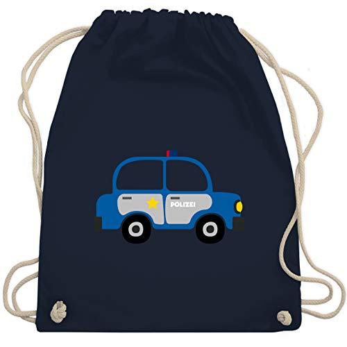 Shirtracer Kinder Traktor Bagger und Co. - Polizei Auto - Unisize - Navy Blau - turnbeutel blau kinder - WM110 - Turnbeutel und Stoffbeutel aus Baumwolle