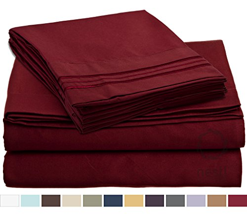HIGHEST QUALITY Bed Sheet Set, #1 on Amazon, Split King Size, Burgundy Red, - Super Soft, Silky Coziest Sheet – SALE! - Better than Cotton, Will Fit Deep Pocketed Mattresses - Wrinkle, Stain and Fade Resistant Hypoallergenic Fabric - Set Includes Luxury Fitted and Flat Sheets and Pillow Cases. Ideal for Your Bed! Best for Your Bedroom, Guest or Children's Room, Vacation Home and RV - Makes an Excellent Gift - LIFETIME 100% Money Back Guarantee Included - Nestl Bedding