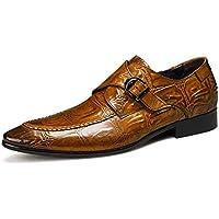 IRCATH Hombre Negocios Británico Cuero Elegante Cómodo Moda Zapatos De Conducción Fit Compras Viajes,Brown-39EU
