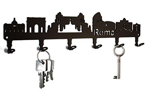 steelprint.de Schlüsselbrett/Hakenleiste * Skyline Rom * - Schlüsselboard Italien, Schlüsselleiste, Metall - 6 Haken