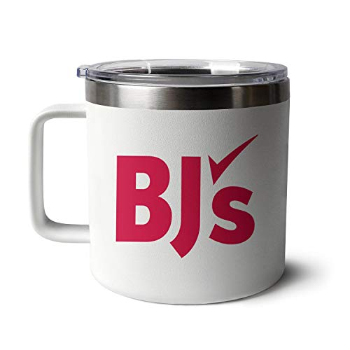 BJ's-Wholesale-Club-Logo- 14oz Stainless Steel Insulated Coffee Mug with Handle Reusable,Durable Tumbler Cup Double Vacuum Travel Mug with Standard Lid,White