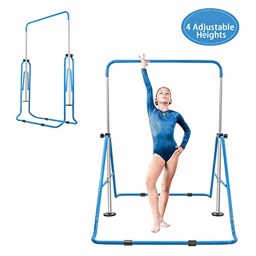 BEEYEO Gymnastics Bar for Kids, Expandable Gym Jr Premium Horizontal Gymnastic Folding Kip Bar Junior Training for Gymnast Beginner Home Training Adjustable Height (Floding Blue)