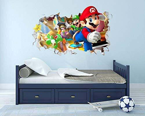Pegatinas de pared Super dibujos animados anime pared agujero 3D calcomanía vinilo pegatina decoración habitación cartel roto papel tapiz- 80×120cm