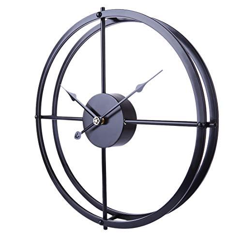Searchyou - 40CM Relojes de Pared Arte de Hierro Estilo Vintage Silencioso para Salón Dormitorio - (Negro)