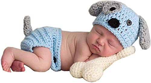 Newborn Baby Boy Girl Photo Props Outfits Crochet Knitted Dog Hat Shorts with Bone Set for Boys Girls Photography Shoot (Blue & White ,1-12 Months)