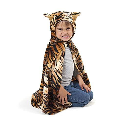 Den Goda Fen - F9870 - Tiger Cape mit Kapuze - 3-8 Jahre, Gr. 98-128 - Raubkatzenumhang für Kinder - Verkleidung Tierkostüm