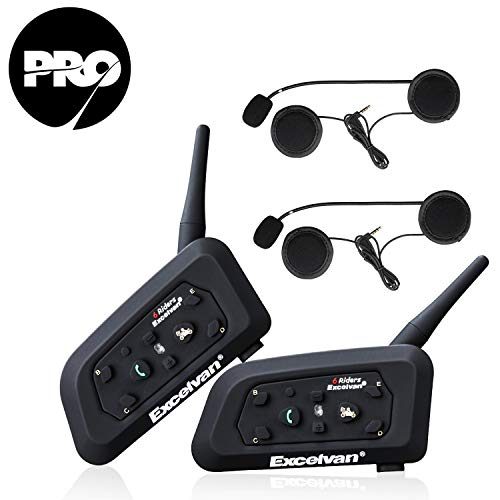 Excelvan V6 Pro - 2×Auriculares Intercomunicador Bluetooth para Casco