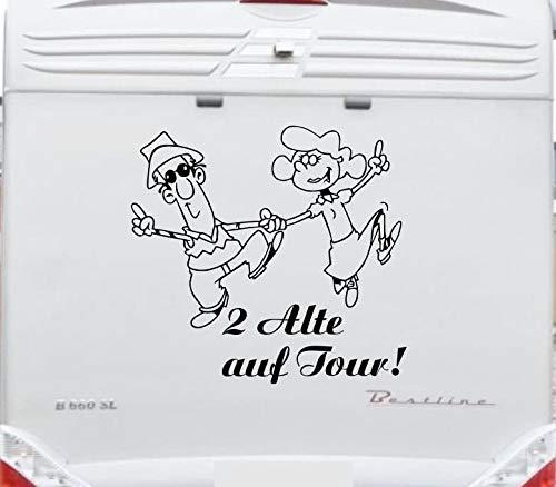 """2 Alte auf Tour Aufkleber \""""Größe 60 cm\"""" für Wohnmobil Wohnwagen Womo WOWA Caravan Lustige Sprüche lustiger Spruch von Pegatina Promotion ®"""