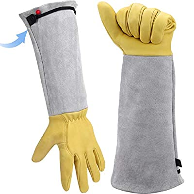 Long Gardening Gloves for Women/Men - Goatskin & Cowhide Leather Thorn Proof Cactus Rose Pruning Gloves Protective Puncture Proof Elbow Long Sleeve Garden Gloves Work Gauntlet for Gardener Gift