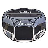 XhuangTech Tela suave, portátil, plegable, para mascotas, perros, gatos, cachorros, para uso en interiores y exteriores, jaula de perrera de 128 x 128 x 68 cm (gris)