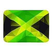NIESIKKLA バスマット、ジャマイカの三角形のポリゴンデザイン抽象的な旗幾何学的な国のシンボルデザイン、マット滑り止め ソフトタッチ 丸洗い 洗濯 台所 脱衣場 キッチン 玄関やわらかマット 45x 75cm