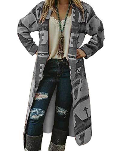 Babao dames lange mouwen cardigan print outwear lange jas mantel