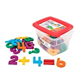 """Magnetic jumbo-sized numbers and math symbols 42 pieces included Each lettermeasures2.5"""" tall Colors include red, blue, yellow, orange, green, and magenta Includes sturdy plastic storage tub"""