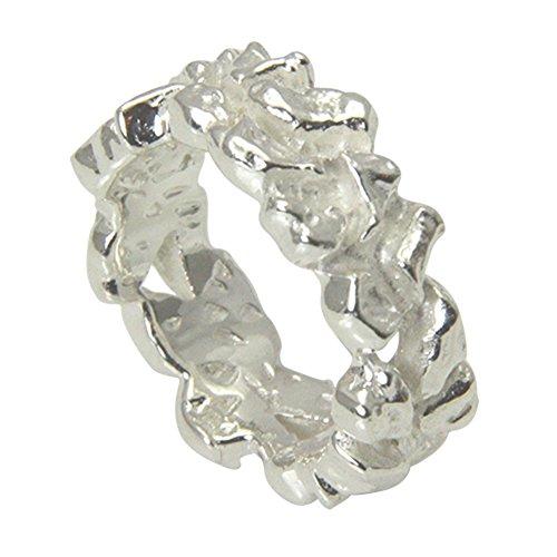 massiver Nugget Ring - hochwertige Goldschmiedarbeit aus Deutschland (Sterling Silber 925 anlaufgeschützt) 8 mm breit - außergewöhnlicher Silberring - Damenring - Herrenring - Partnerring