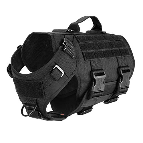 ICEFANG Tactical Dog Operation Harness with 6X Buckle,Dog Molle Vest with Handle,3/4 Body Coverage,Hook and Loop Panel for ID Patch,No Pulling Front Clip (M (25'-31' Girth), Black)