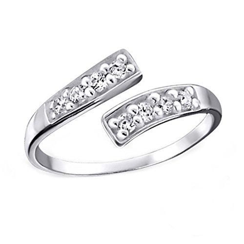 FIVE-D Ring Zehenring Kristalle Grösse einstellbar 925 Sterling Silber im Schmucketui (Weiss)