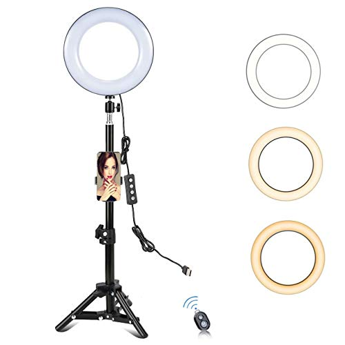 "8"" Selfie Ring Light with Tripod Stand & Phone Holder for YouTube Video Live Stream & Beauty Makeup/Photography/Tiktok/LED Circle Light for Compatible Filming with iPhone & Android"