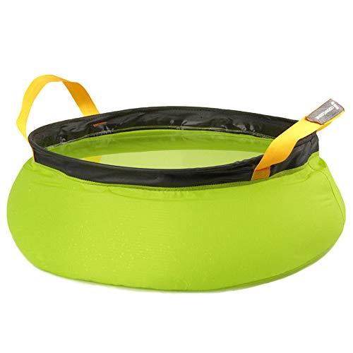 Yingm Cubo de Agua Plegable Espesar 10L Cubo Plegable Vegetal Cuenca del Viaje de pies Viaje de Senderismo al Aire Libre Viaje Portátil al Aire Libre (Color : Verde)