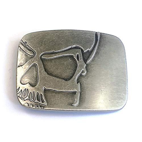 MarryAcc Vintage Skull Belt Buckle Cowboy Belt Buckle for Men Antique Silver