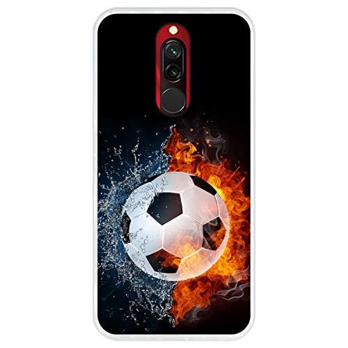 Hapdey Funda Transparente para [ Xiaomi Redmi 8-8A ] diseño [ Fuego y Agua, balón de Futbol ] Carcasa Silicona Flexible TPU
