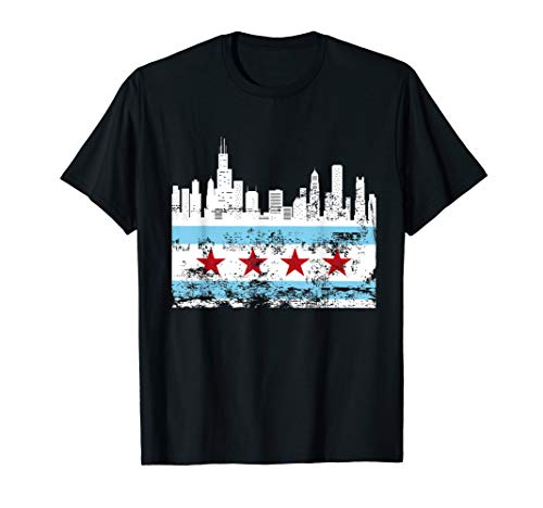 Chicago Skyline Flag T shirt Chi Town, The Windy City