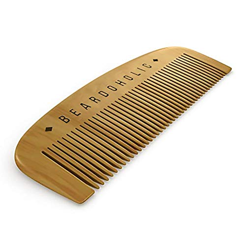 Beard Comb with Gift Box - Fine Toothed - Anti Static & Detangles Your Beard, Mustaches and Head Hair - Pocket Friendly 100% Wood Brush by Beardoholic