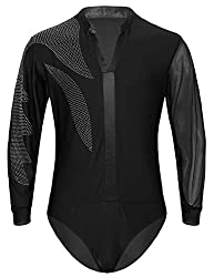 Black With Rhinestones Long Sleeve Ballroom Leotard Bodysuit