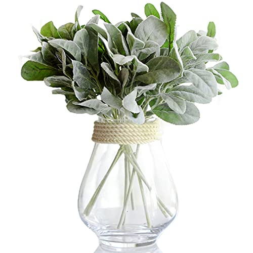 Piokoy 10PCS Artificial Flowers Flocked Lambs Ear Leaf, Greenery Plant Fake Plastic Branches Greens Bushes for Home Wedding DIY Craft Floral Arrangement