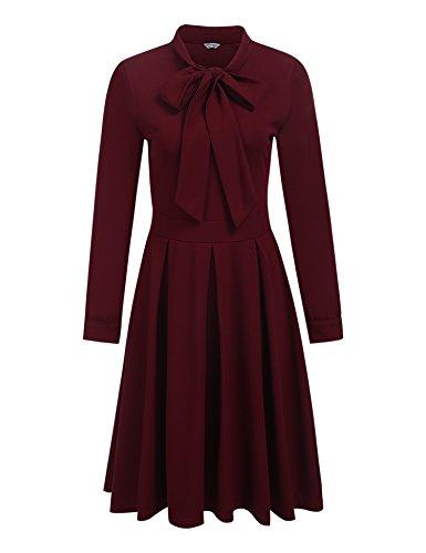 Damen Elegant Retro Vintage Rockabilly Kleid Abendkleid Cocktailkleid Partykleid Herbst Winter Langarm mit Schleife A Linie Swing Kleid Knielang Stehkragen Falten