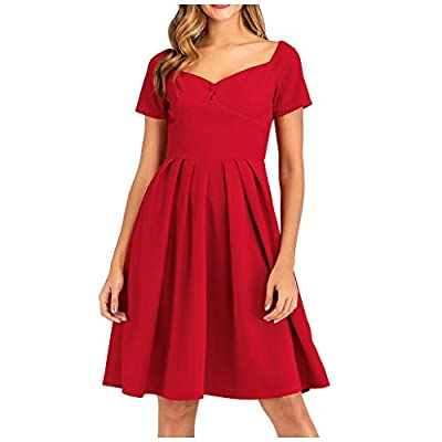 Oyedens Women Casual Solid V-Neck Short Sleeve Dress Fashion Tie Pachwork Dress Red by Oyedens