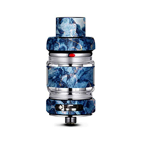 IT'S A SKIN Decal Vinyl Wrap Compatible with FreeMax Mesh Pro Tank/Heavy Blue Gold Marble Granite