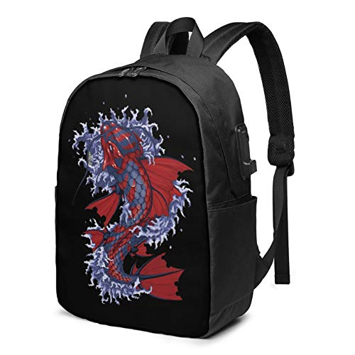 Butterfly Koi Tattoo Fish Travel Laptop Backpack College School Bag Casual Daypack with USB Charging Port