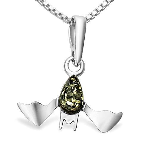 925 Silberschmuck Anhänger Halskette Ohrringe Ohrstecker Fledermaus Flügel Naturbernstein - Bernstein-Schmuck - Vampir Schmuck - Blutsauger Schmuck #2207 (Anhänger Grün)