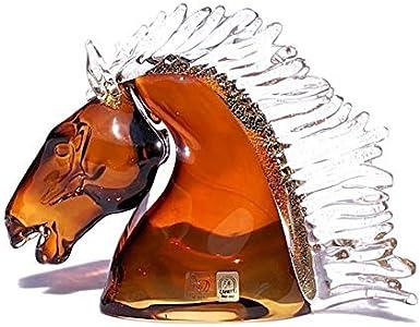 YourMurano, Escultura de cristal de Murano de cabeza de caballo, estatua ámbar para decoración del hogar, marca de origen, Fuego