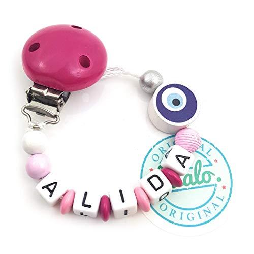 Baby Schnullerkette mit Namen, Nazar Auge Lila, Pink, Handmade Namenskette/Schnullerhalter zur Geburt, Geburtstag, Taufe für Mädchen