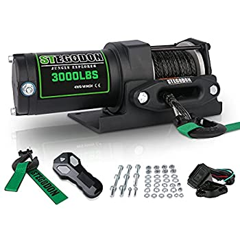 STEGODON New 3000 lb Load Capacity Electric Winch,12V Synthetic Rope Winch with Wireless Handheld Remote and Wired Handle,Waterproof IP67 Electric Winch with Hawse Fairlead All Black