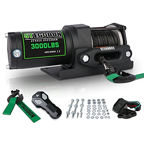STEGODON New 3000 lb. Load Capacity Electric Winch,12V Synthetic Rope Winch with Wireless Handheld Remote and Wired Handle,Waterproof IP67 Electric Winch with Hawse Fairlead(All Black)