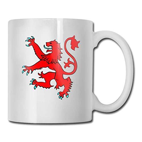 Taza de café con diseño de León Rampant Escocia de Escocia Divertida Taza de Té Taza de Cerámica Blanca 11oz