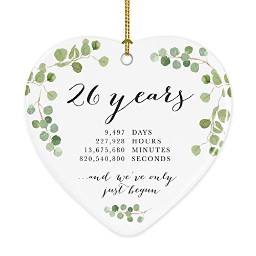 Andaz Press Heart Porcelain Ceramic 26th Wedding Anniversary Christmas Tree Ornament Gift, 26 Years, 9497 Days, 227928 Hours, 13675680 Minutes, 820540800 Seconds, 1-Pack, Inc Gift Box
